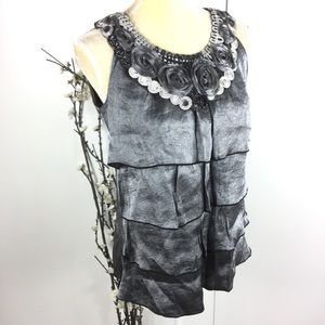 Silver Shimmer Sleeveless Tiered Top